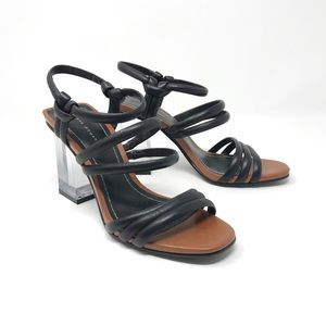 Zara Strappy Clear Acrylic Block Heels Black 36